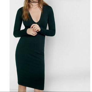 Green Deep V Stretch Midi Long Sleeve Dress